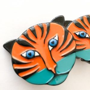 Bimba y Lola Orange Blue Tiger Face earrings